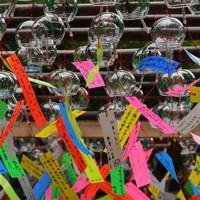 願い事が書かれた風鈴=福岡県小郡市で2020年6月29日、田鍋公也撮影