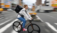 Ekaterina Tetereva is seen out on a bike doing