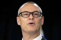 New Zealand Health Minister David Clark announces his resignation at a press conference at parliament in Wellington, New Zealand, on July 2, 2020. (Mark Mitchell/New Zealand Herald via AP)