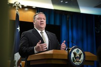 U.S. Secretary of State Mike Pompeo speaks during a news conference at the State Department on July 1, 2020, in Washington. (AP Photo/Manuel Balce Ceneta, Pool)
