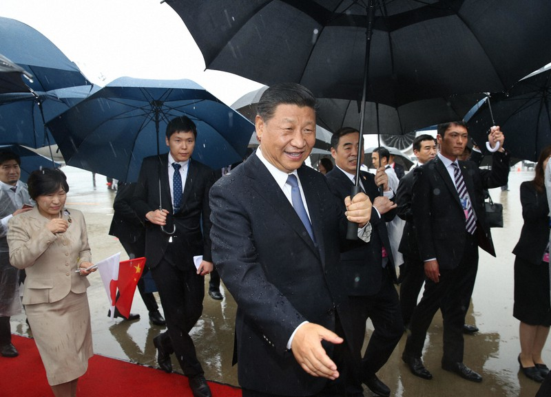G20に出席するため来日した習近平・中国国家主席=大阪府の関西国際空港で2019年6月27日撮影