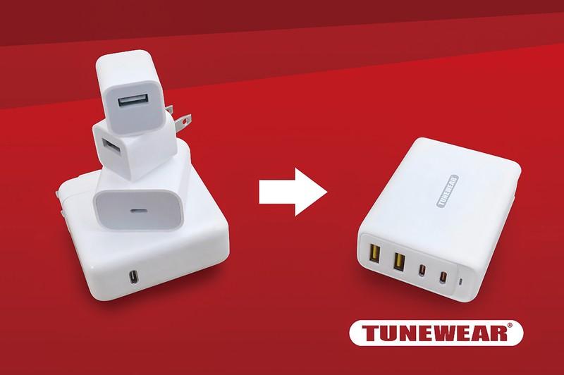 フォーカルポイントのGaN充電アダプター「TUNEMAX 100W GaN」(右)。製品名にもGaNの文字が入る。複数の充電器を一つにまとめる フォーカルポイント提供