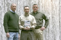 In this Feb. 26, 2009, file photo, former hostages, from left, Tom Howes, Marc Gonsalves and Keith Stansell pose for a portrait in New York. (AP Photo/Mary Altaffer)
