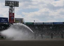 決勝を前に、入念に水をまく阪神園芸の作業員=阪神甲子園球場で2019年4月3日、玉城達郎撮影