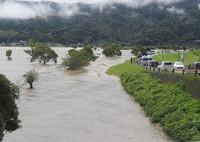 The swollen Kuma River is seen in the city of Yatsushiro in the southwestern Japan prefecture of Kumamoto at 10:09 a.m. on July 4, 2020. (Mainichi/Toyokazu Tsumura)
