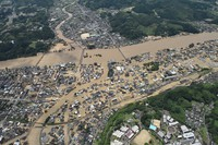 Floodwaters cover a residential area of the city of Hitoyoshi in the southwestern Japan prefecture of Kumamoto after torrential rain caused the Kuma River to overflow, in this photo taken at 11:46 a.m. on July 4, 2020. (Mainichi/Kimiya Tanabe)