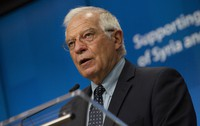 European Union foreign policy chief Josep Borrell speaks during a media conference after a meeting in videoconference format at the European Council building in Brussels, on June 30, 2020. (AP Photo/Virginia Mayo, Pool)