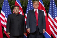 In this June 12, 2018 file photo, U.S. President Donald Trump, right, meets with North Korean leader Kim Jong Un on Sentosa Island, in Singapore. (AP Photo/Evan Vucci)