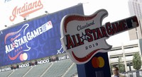 The new logo for the 2019 All-Star Game is displayed on Aug. 7, 2018, in Cleveland. (AP Photo/Tony Dejak)