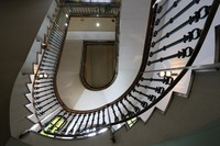 A spiral staircase that depicts a beautiful curve up to the third floor is seen at Fukagawa Library in Tokyo's Koto Ward on June 8, 2020. (Mainichi/Akihiro Ogomori)