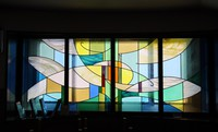 A stained-glass window on the first floor of Fukagawa Library in Tokyo's Koto Ward shows vibrant colors as light is reflected from outside on June 8, 2020. (Mainichi/Akihiro Ogomori)