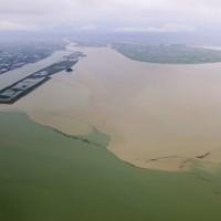 球磨川河口(奥)から海に流れ出た茶色い水=熊本県八代市沖で2020年7月5日午後0時7分、本社ヘリから