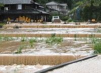 Muddy water runs like a river through roads and fields leading to the scene of a landslide, where rescue activities were temporary halted because of rain, in the town of Tsunagi, Kumamoto Prefecture, on July 6, 2020. (Mainichi/Tomohisa Yazu)