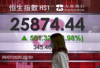 A woman wearing a face mask walks past a bank's electronic board showing the Hong Kong share index at Hong Kong Stock Exchange on July 6, 2020. (AP Photo/Vincent Yu)