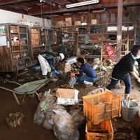 泥まみれになった商店の片付けをする人たち。道の向かいの川が氾濫し床上まで水に浸かったのは初めてと話した=熊本県芦北町で2020年7月8日午前8時59分、矢頭智剛撮影