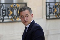 Newly appointed Interior Minister Gerald Darmanin arrives at the Elysee Palace for the weekly cabinet meeting, in Paris, France, on July 7, 2020. (AP Photo/Francois Mori)