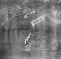 The Sakuramachi area in Kumamoto's Chuo Ward is seen from a U.S. bomber on Aug. 10, 1945, in this image owned by Takao Imayoshi and William J. Swain, provided by Kazuo Takatani, representative of the Kumamoto War-site and Cultural Heritage Network.