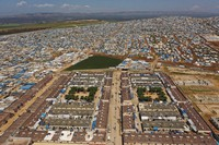 In this April 19, 2020 photo file photo, shows a large refugee camp on the Syrian side of the border with Turkey, near the town of Atma, in Idlib province, Syria. Over the last two days, members of the U.N. Security Council have been haggling over cross-border aid delivery to Syria, with Russia. (AP Photo/Ghaith Alsayed)
