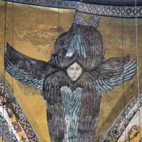 世界文化遺産の「アヤソフィア」に残るモザイク画=トルコ・イスタンブールで2012年4月23日、手塚耕一郎撮影