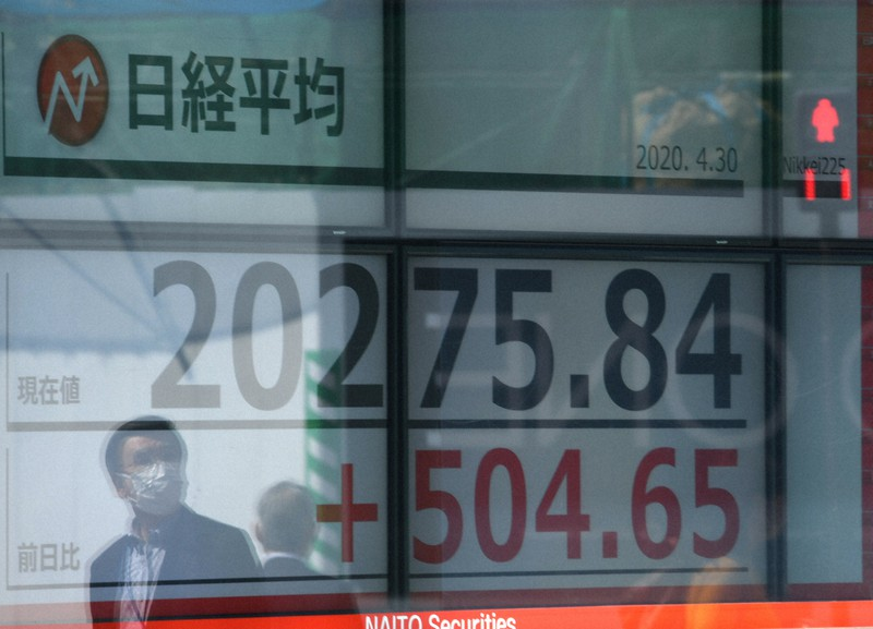 2万円台を回復した日経平均株価を表示する証券会社のディスプレー=東京都中央区で2020年4月30日午前9時28分、宮間俊樹撮影