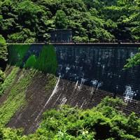 高さ約43メートルのえん堤の前後面は石積み。工事のほとんどが人力だった=北九州市八幡東区で2020年6月16日午後0時39分、須賀川理撮影