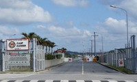 The gate to Camp Hansen is seen in the town of Kin, Okinawa Prefecture, in this file photo. (Mainichi/Akihiro Kawakami)