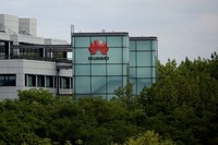 A Huawei sign is displayed on their premises in Reading, England, on July 14, 2020. (AP Photo/Matt Dunham)