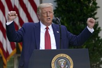 U.S. President Donald Trump speaks during a news conference in the Rose Garden of the White House on July 14, 2020, in Washington. (AP Photo/Evan Vucci)