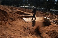A grave is prepared for a Muslim burial at Johannesburg's main Westpark Cemetery in South Africa, on July 14, 2020. (AP Photo Denis Farrell)