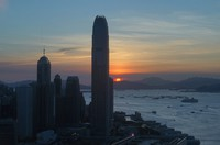 The skyline of the business district is silhouetted at sunset in Hong Kong on July 13, 2020. (AP Photo/Vincent Yu)