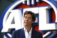 Australian Football League CEO Gillon McLachlan speaks to the media in Melbourne, on July 15, 2020. Six Melbourne-area Australian Football League teams have already been relocated temporarily to Queensland because of a spike in COVID-19 infections in Victoria state and a subsequent six-week lockdown of the city. (James Ross/AAP Image via AP)
