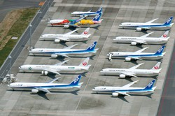 大量運休で出番を失った旅客機が並ぶ羽田空港 筆者撮影