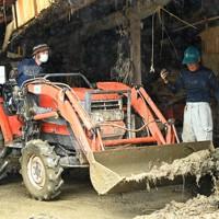 農機具小屋にたまった泥の撤去作業をする尾方広海さん(左)と和敏さん=熊本県人吉市で2020年7月16日午後3時38分、徳野仁子撮影