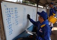 ベンチに掲示される県岐阜商の選手たちのスイングスピード。具体的に数字で示すことで目標を明確にする=岐阜市で2020年2月2日、兵藤公治撮影