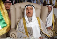 In this March 31, 2019, file photo, Kuwait's ruling emir, Sheikh Sabah Al Ahmad Al Sabah, attends the opening of the 30th Arab Summit, in Tunis, Tunisia. (Fethi Belaid/Pool Photo via AP)