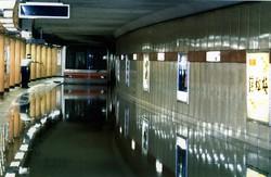 雨水が流れ込み、浸水した営団地下鉄丸ノ内線=赤坂見附駅で1993年8月27日午後7時40分