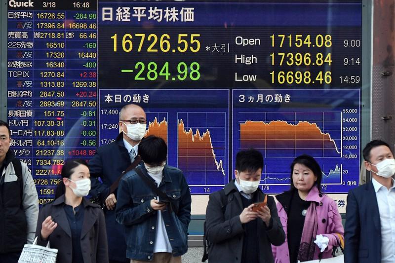 今年3月、日経平均は約3年4カ月ぶりに1万7000円を割り込んだ。日銀は超過債務に近づいた(東京都中央区)