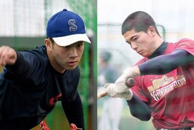 白樺学園の投打の柱・片山楽生(左)と山梨学院で1年から正捕手を務める栗田勇雅