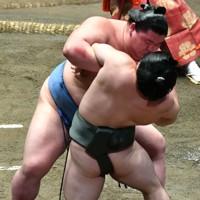 正代(奥)が炎鵬をきめ出しで降す=東京・両国国技館で2020年7月30日、西夏生撮影