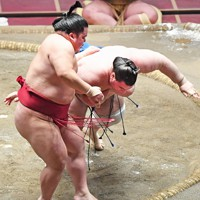 碧山(右)を突き落としで降す大栄翔=東京・両国国技館で2020年7月31日、滝川大貴撮影