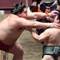 炎鵬(右)を突き倒しで降す大栄翔=東京・両国国技館で2020年8月1日、滝川大貴撮影