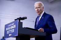 In this July 28, 2020, file photo, Democratic presidential candidate former Vice President Joe Biden speaks at a campaign event at the William