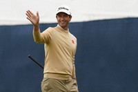 Adam Scott, of Australia, gestures toward the 15th fairway during practice for the PGA Championship golf tournament at TPC Harding Park in San Francisco, on Aug. 4, 2020. (AP Photo/Jeff Chiu)