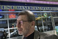 In this June 5, 2007 file photo, Pete Hamill responds during an interview at the Skylight Diner in New York. (AP Photo/Bebeto Matthews)