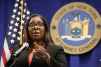 New York State Attorney General Letitia James takes a question after announcing that the state is suing the National Rifle Association during a press conference, on Aug. 6, 2020, in New York. (AP Photo/Kathy Willens)
