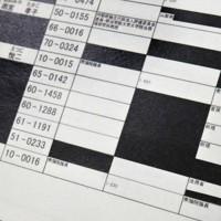 初めて開示された2006年の「桜を見る会招待者名簿」。一般人の招待者は黒塗りとなっているが、首相枠には60番、官房長官枠には65番の整理番号が付けられていることが分かる=東京都千代田区の国立公文書館で2020年8月8日、手塚耕一郎撮影