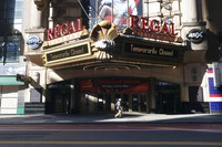 A Regal Cinemas movie theater is temporarily closed during the coronavirus pandemic in New York on May 5, 2020. (AP Photo/Ted Shaffrey)