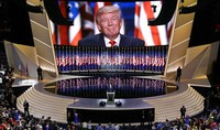 In this July 21, 2016, file photo, Republican presidential candidate Donald Trump smiles as he addresses delegates during the final day session of the Republican National Convention in Cleveland. (AP Photo/Patrick Semansky)