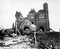 In this Sept. 13, 1945, file photo, the Urakami Catholic Cathedral in Nagasaki, Japan, stands waste in the aftermath of the detonation of the atom bomb over a month ago over this city. The city of Nagasaki in southern Japan marks the 75th anniversary of the U.S. atomic bombing of Aug. 9, 1945. (AP Photo/Stanley Troutman, Pool)