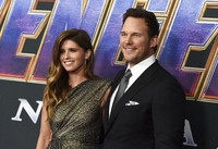 Katherine Schwarzenegger, left, and Chris Pratt arrive at the premiere of